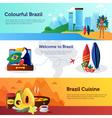 Brazil Travel Flat Horizontal Banners Set vector image