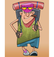 Cartoon male traveler walks with a backpack vector image