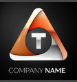 letter t logo symbol in the colorful triangle on vector image