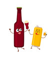funny beer bottle and can characters having fun vector image