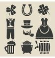 St Patricks Day symbols set vector image