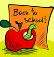 Back to school worm in apple vector image