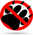 Ban foot print animal vector image