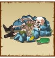 Skeleton in boots lies on the rocks with a bottle vector image