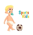 Baby in diaper playing football vector image