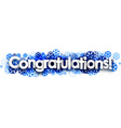 Congratulations banner with blue snowflakes vector image
