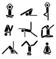 Icons yoga asana pose isolated on white background vector image
