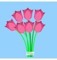 Pink tulips bouquet vector image