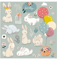 Set of cute hares with balloons vector image