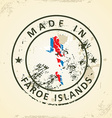 Stamp with map flag of Faroe Islands vector image