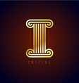 Letter I column logo vector image