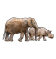 polygonal rhinoceros vector image
