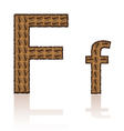 letter f is made grains of coffee isolated on whit vector image
