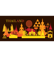 Thailand Landmark Colorful Shapes Dark Background vector image