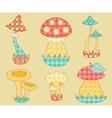 Vintage mushroom patchwork set vector image vector image