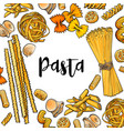Banner framed with uncooked italian pasta with vector image