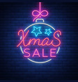 christmas festive sale of a poster in a neon style vector image