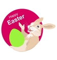 Easter bunny holding egg Happy easter vector image