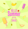 hello summer sale colorful background with ice vector image
