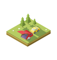 isometric of Camping trailer with car vector image