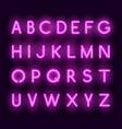 neon alphabet realistic glowing letters vector image