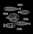 set of cute sea fish vector image