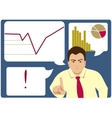 Unsuccessful businessman points with his finger vector image