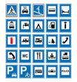informational road blue symbols set vector image