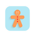 gingerbread man christmas flat icon holiday vector image