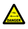 Triangle barbed wire warning sign vector image