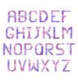 latin alphabet with triangular purple texture vector image