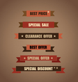 Price tag ribbon sale coupon voucher Vintage Style vector image vector image