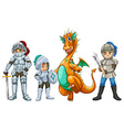 Dragon and knights vector image vector image