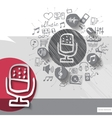 Hand drawn microphone icons with icons background vector image
