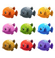 cute cartoon colorful fishes set vector image