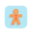 gingerbread man christmas flat icon holiday vector image
