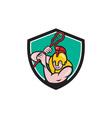 Gladiator Lacrosse Player Stick Crest Cartoon vector image