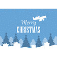 merry christmas santa claus flies on an airplane vector image