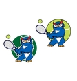 Sporting emblem with owl playing tennis vector image