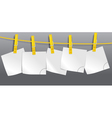 Blank paper sheets on rope vector image vector image