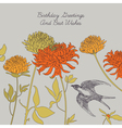 Swallow and flowers vector image vector image