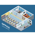 Isometric Office Interior View Poster vector image