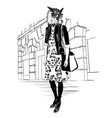 fashion hipster owl on city background vector image