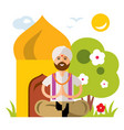 india yoga flat style colorful cartoon vector image