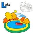 Lake Coloring book page Cartoon vector image