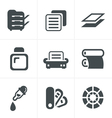 Print icons set elegant series vector image
