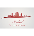 Portland skyline in red vector image