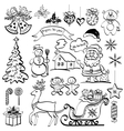 Christmas elements black silhouettes vector image vector image
