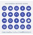Multimedia devices icon set Multicolored square vector image