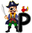 Cartoon pirate and parrots vector image vector image